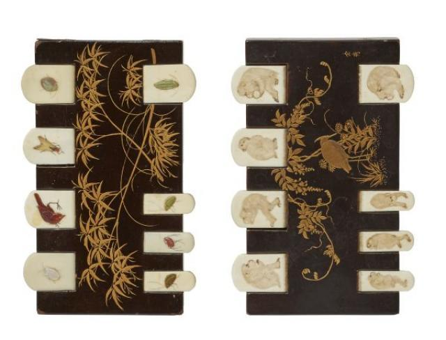 Unknown - Pair of Lacquer Shibayama and Ivory Whist Counters