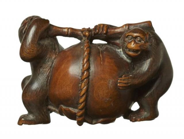 Unsigned - Netsuke - Monkeys carrying a Persimmon | Buy Private Art | Private Art Sales