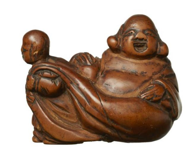 Unsigned - Netsuke - Buddha and attendant | Buy Private Art | Private Art Sales