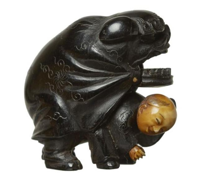 Shozan - Netsuke - Man in a Shishi-mai costume | Buy Private Art | Private Art Sales