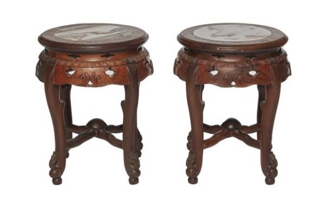 Unknown - Pair of Chinese Marble Inset Rosewood Stands