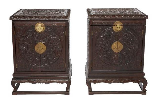 Unknown - A pair of Chinese Hardwood Chests