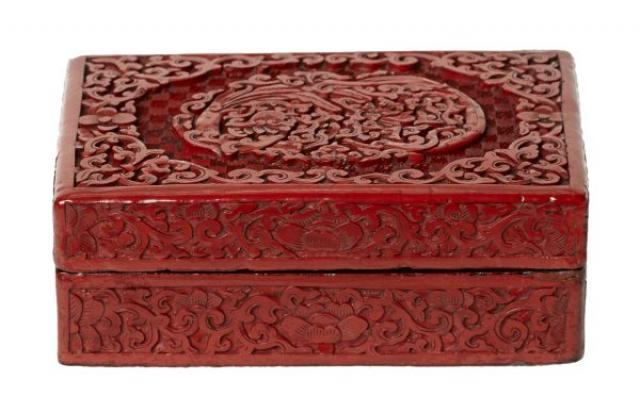 Cinnabar - Impressive rectangular Cinnabar Box and Cover