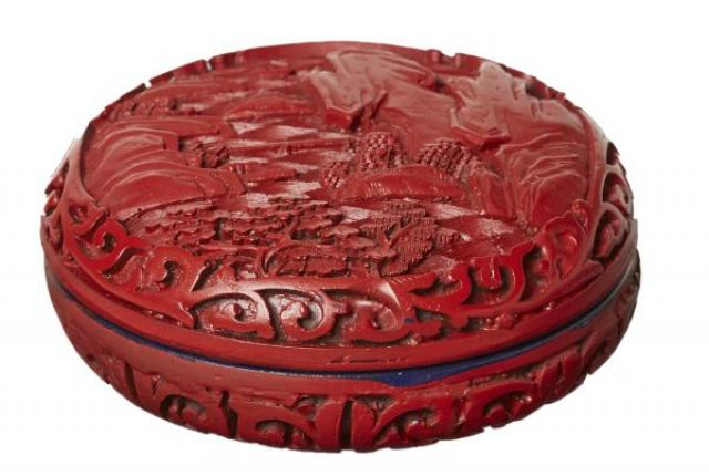 Cinnabar - Chinese Round Cinnabar and Lacquer Ink Box