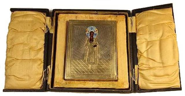 Unknown - Russian Silver and Enamel Painted Icon, Boxed