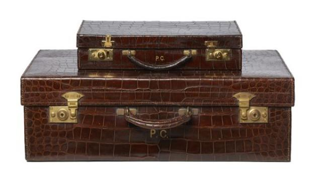 Unknown - Crocodile Skin Vanity Case and Suitcase Set