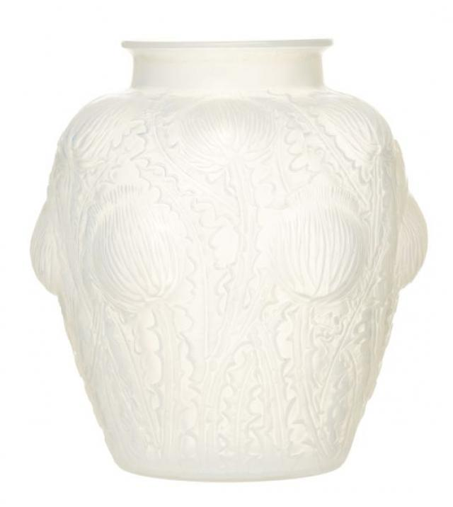 R. Lalique - Pre War Rene Lalique 'Domremy' Molded Glass Vase | Buy Private Art | Private Art Sales