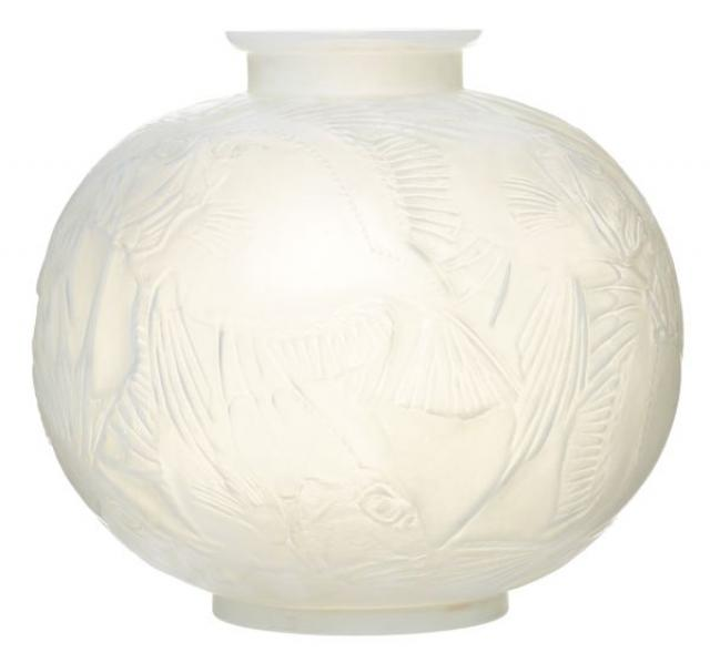 R. Lalique - Pre War Rene Lalique 'Poisson' Frosted Glass Vase